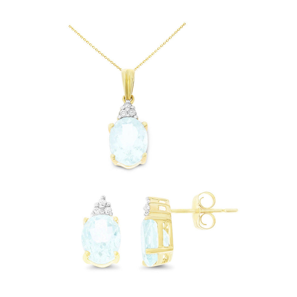 3.25ctw 6 x 8 mm. Oval Genuine Natural Aquamarine and Diamond Set 14kt Yellow Gold