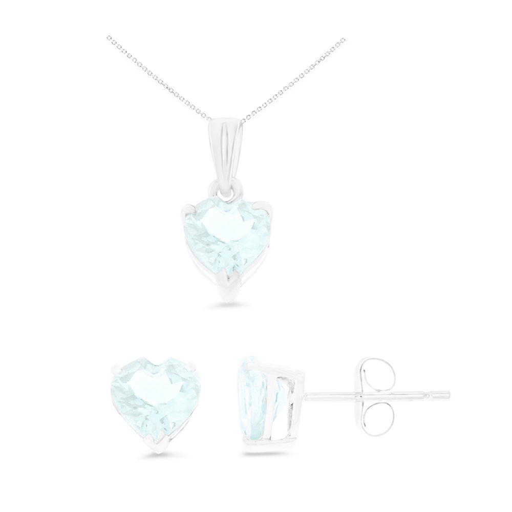 2.51ctw 6 mm. Heart Shaped Genuine Natural Aquamarine Set 14kt White Gold