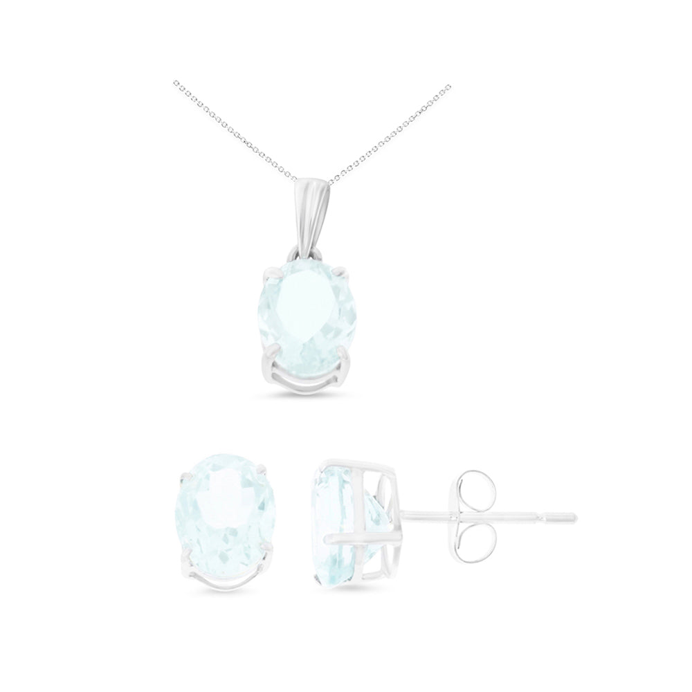 3.23ctw 6 x 8 mm. Oval Shaped Genuine Natural Aquamarine Set 14kt White Gold