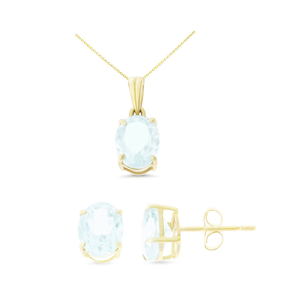 3.23ctw 6 x 8 mm. Oval Shaped Genuine Natural Aquamarine Set 14kt Yellow Gold