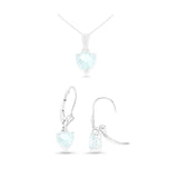 2.50ctw Heart Shaped Genuine Natural Aquamarine Leverback Set 14kt White Gold