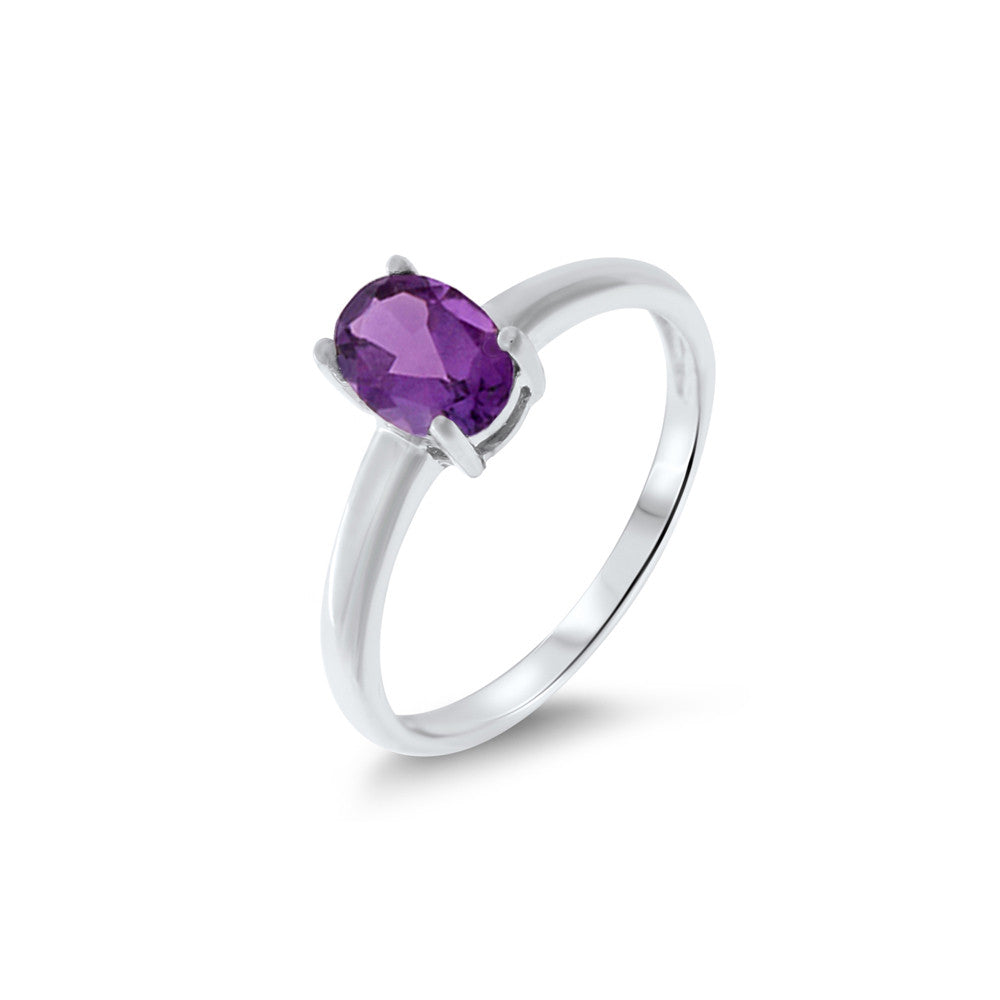 0.75ctw 5 x 7 mm. Oval Shaped Genuine Natural Amethyst Ring Size 6.25 .925 Sterling Silver