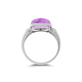 5.14ctw Genuine Natural Amethyst and Diamond Ring Size 6.5 14kt White Gold