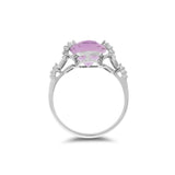 2.90ctw Genuine Natural Amethyst and Diamond Ring Size 6.5 14kt White Gold