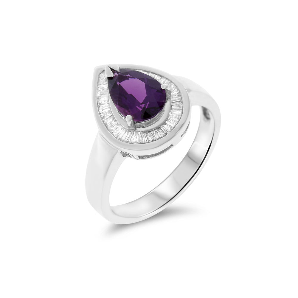 1.51ctw Genuine Natural Amethyst and Diamond Ring Size 7 14kt White Gold