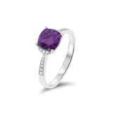 1.47ctw Genuine Natural Amethyst and Diamond Ring Size 7.25 14kt White Gold