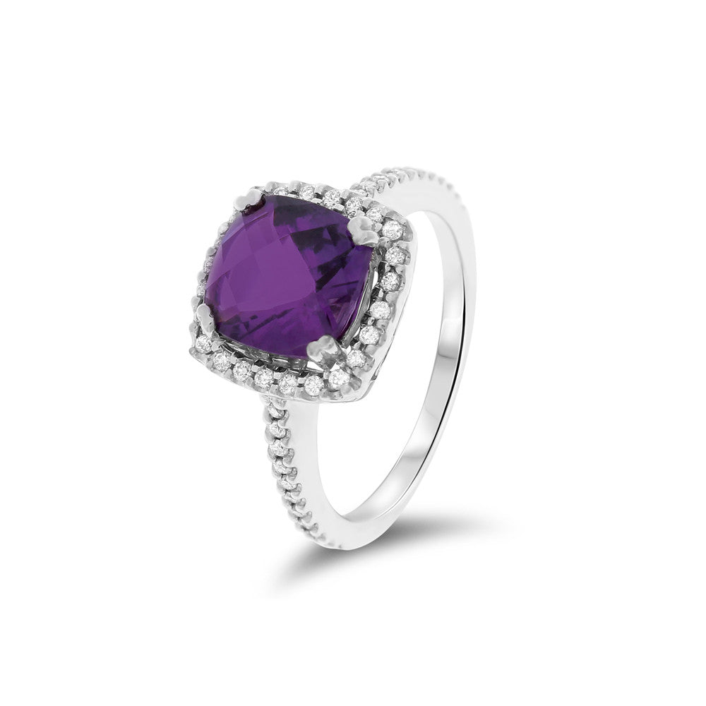 2.25ctw Genuine Natural Amethyst and Diamond Ring Size 6 14kt White Gold