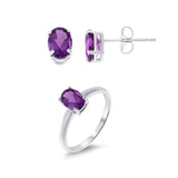 2.04ctw 5 x 7 mm. Oval Shaped Genuine Natural Amethyst Set .925 Sterling Silver