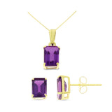 2.77ctw 5 x 7 mm. Emerald Cut Genuine Natural Amethyst Set 14kt Yellow Gold