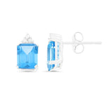 4.18ctw 6 x 8 mm. Emerald Cut Genuine Natural Blue Topaz and Diamond Earrings 14kt White Gold