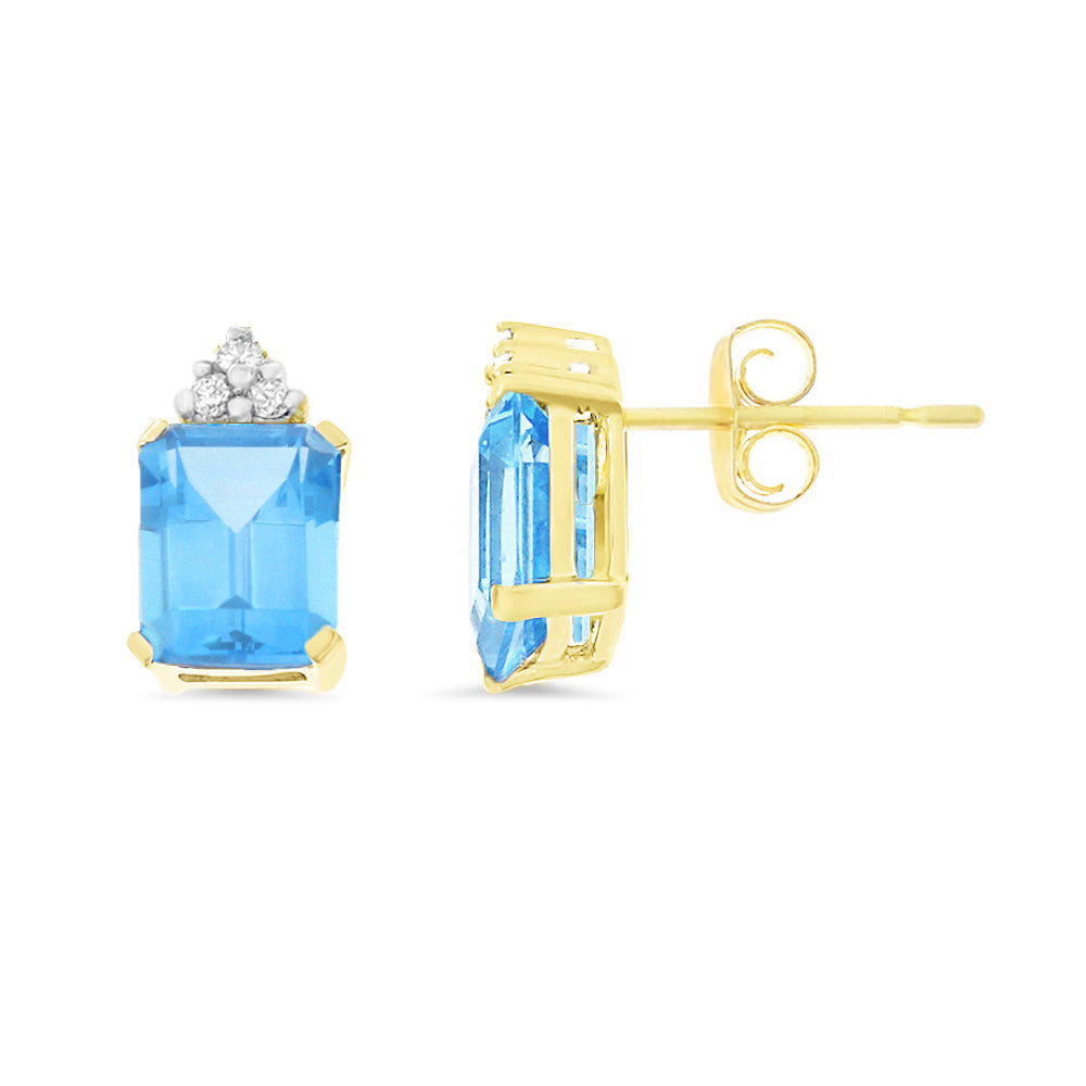4.18ctw 6 x 8 mm. Emerald Cut Genuine Natural Blue Topaz and Diamond Earrings 14kt Yellow Gold