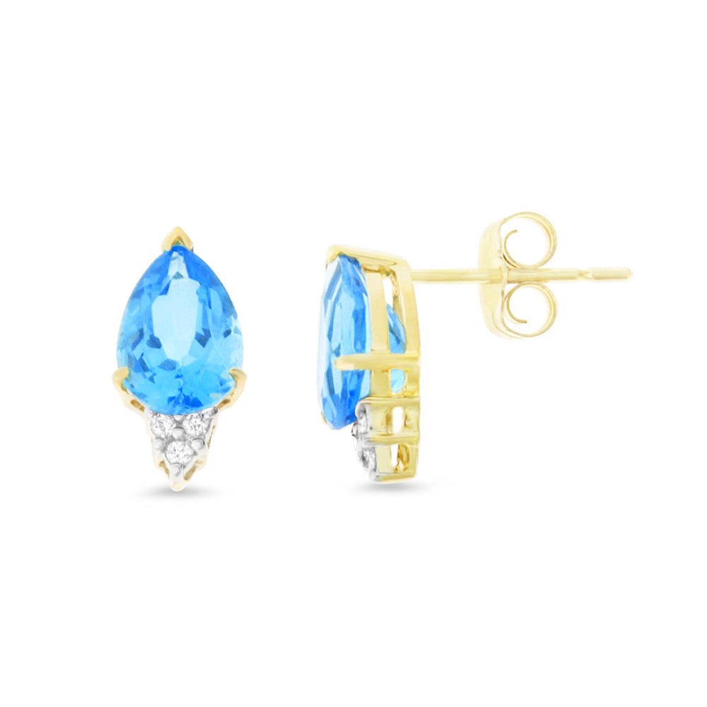 3.21ctw 6 x 8 mm. Pear Genuine Natural Blue Topaz and Diamond Earrings 14kt Yellow Gold