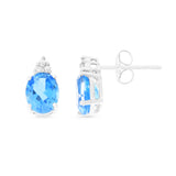 3.07ctw 6 x 8 mm. Oval Genuine Natural Blue Topaz and Diamond Earrings 14kt White Gold
