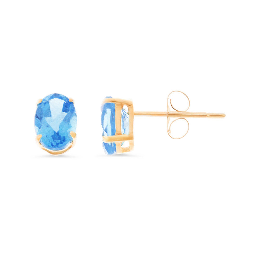 2.04ctw 5 x 7 mm. Oval Shaped Genuine Natural Blue Topaz Earrings 14kt Rose Gold