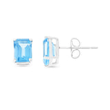 2.43ctw 5 x 7 mm. Emerald Cut Genuine Natural Blue Topaz Earrings 14kt White Gold