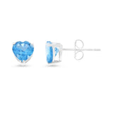 1.92ctw 6 mm. Heart Shaped Genuine Natural Blue Topaz Earrings 14kt White Gold