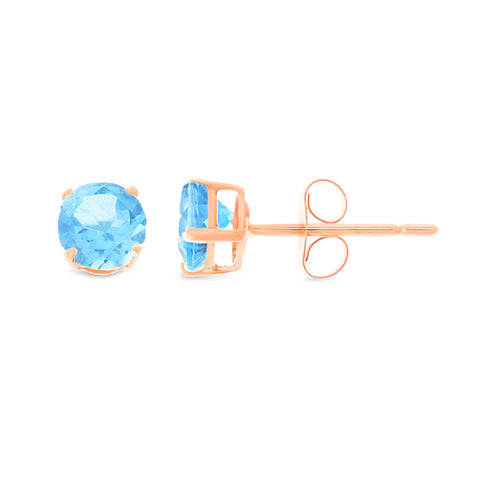 1.18ctw 5 mm. Round Shaped Genuine Natural Blue Topaz Earrings 14kt Rose Gold
