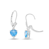 1.76ctw 6 mm. Heart Genuine Natural Blue Topaz Leverback Earrings 14kt White Gold