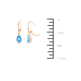 4.60ctw 6 x 8 mm. Pear Shaped Genuine Natural Blue Topaz Leverback Set 14kt Rose Gold