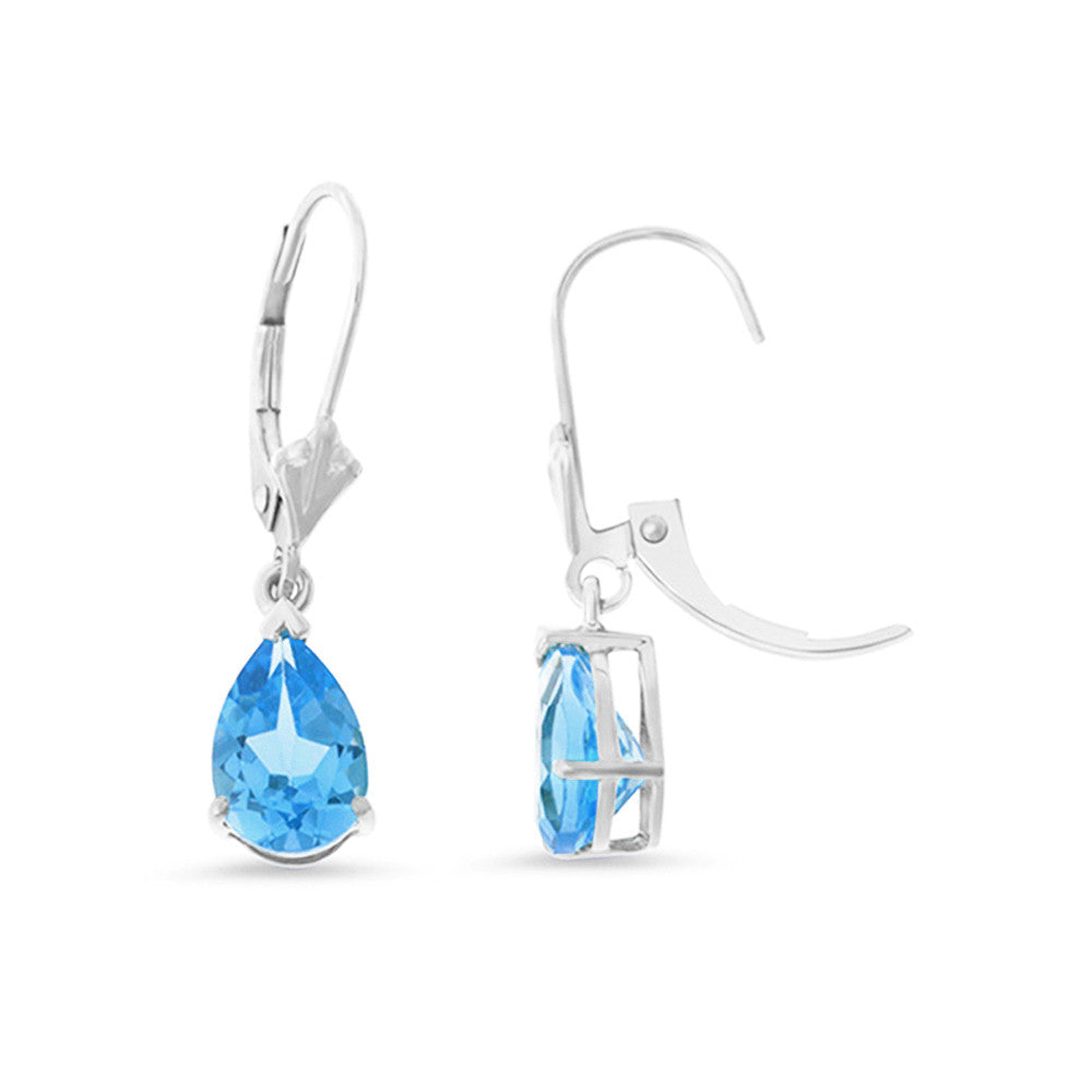 3.06ctw 6 x 8 mm. Pear Genuine Natural Blue Topaz Leverback Earrings 14kt White Gold