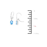 1.80ctw 5 x 7 mm. Oval Genuine Natural Blue Topaz Leverback Earrings 14kt White Gold