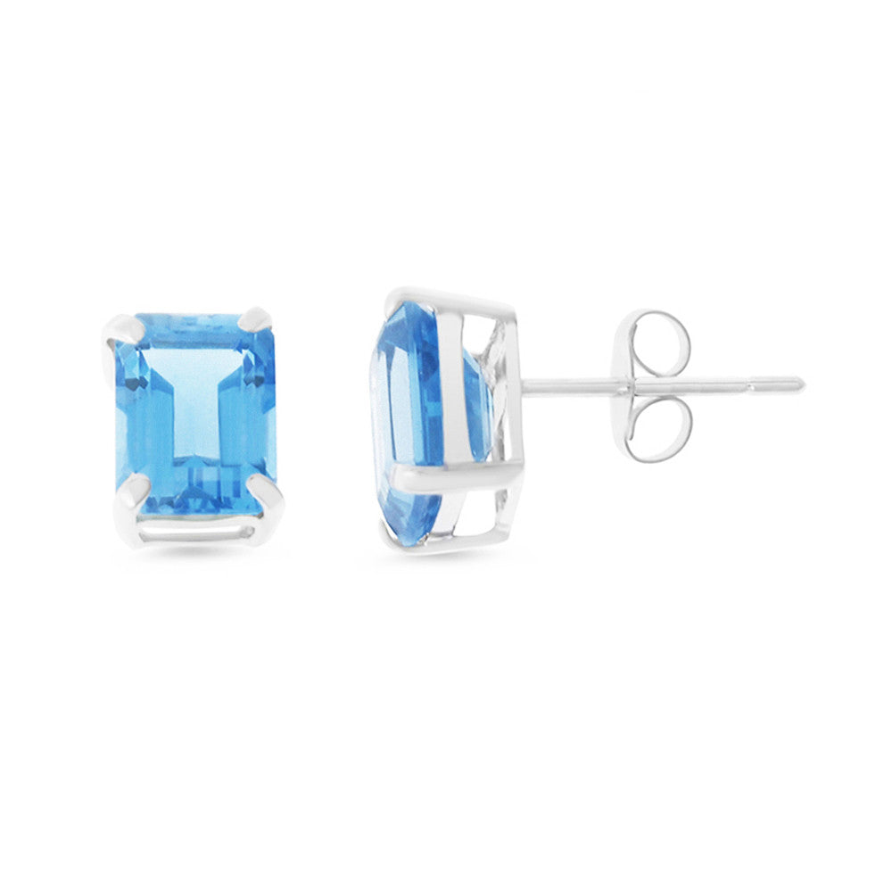 4.14ctw 6 x 8 mm. Emerald Cut Genuine Natural Blue Topaz Earrings 14kt White Gold