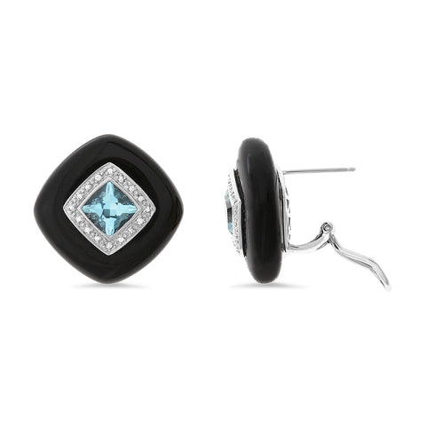 1.38ctw Genuine Natural Black Onyx / Blue Topaz and Diamond Earrings 14kt White Gold