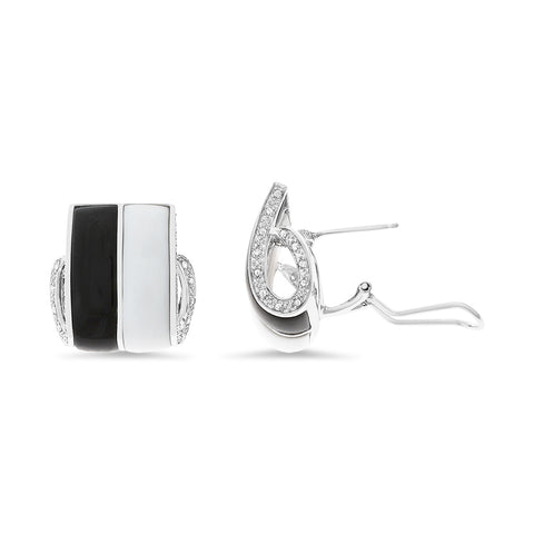 0.20ctw Genuine Natural Mother of Pearl / Black Onyx and Diamond Earrings 14kt White Gold
