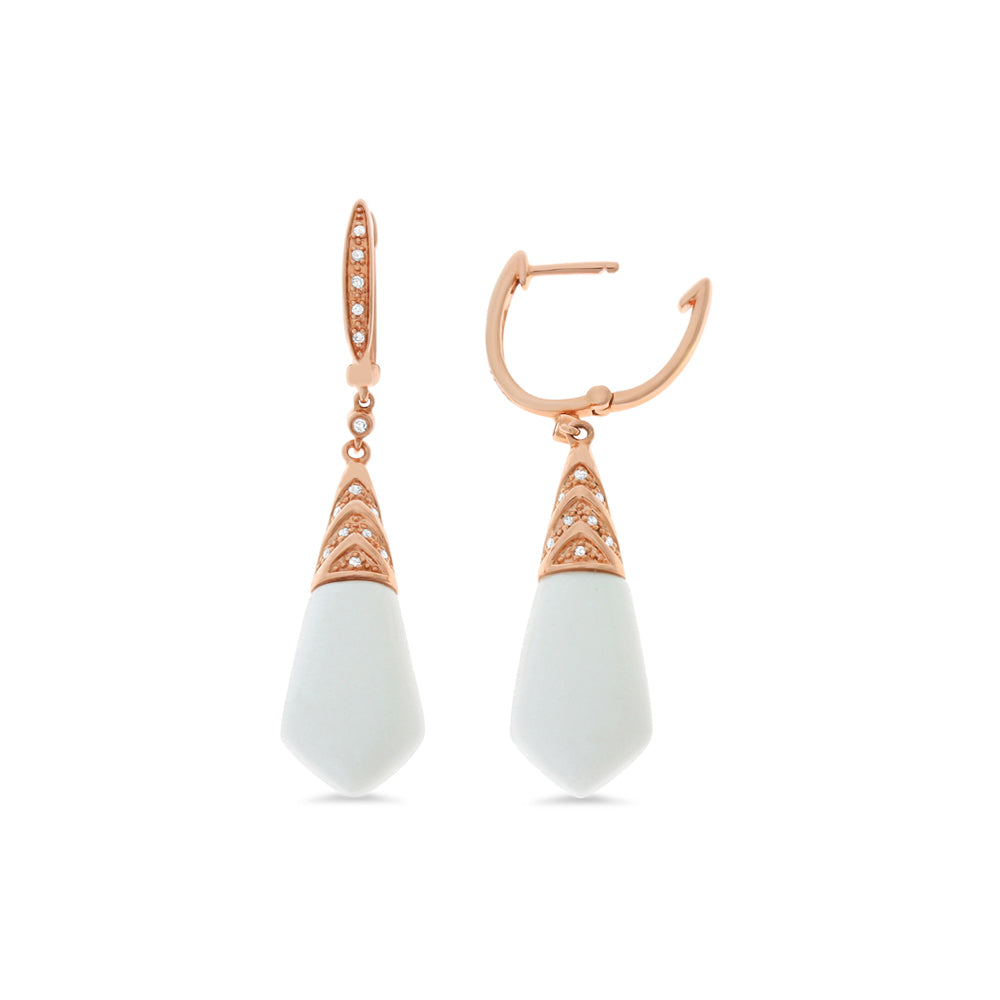 0.11ctw Genuine Natural White Onyx and Diamond Dangling Earrings 14kt Rose Gold
