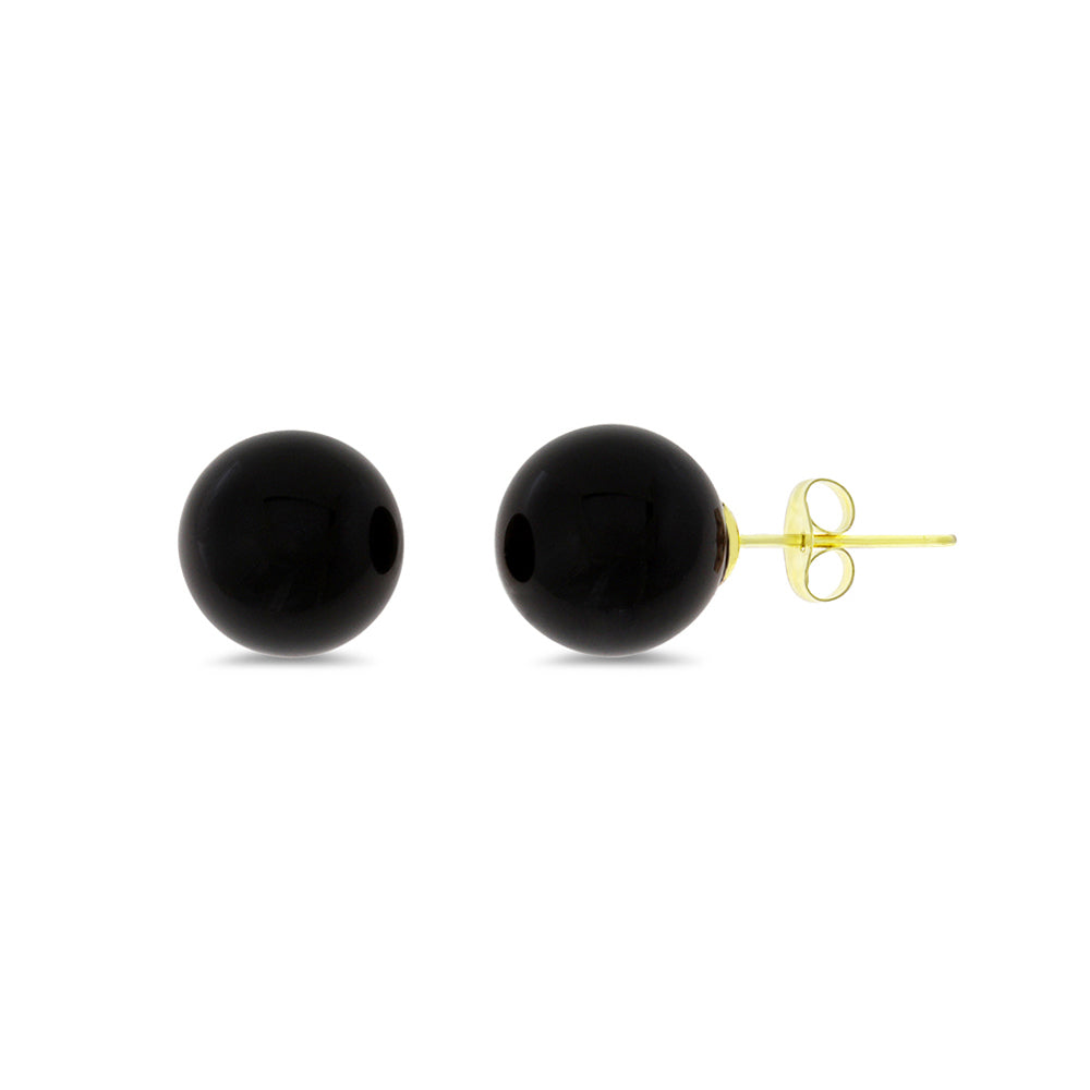 10 mm. Genuine Natural Black Onyx Round Shaped Earrings 14kt Yellow Gold
