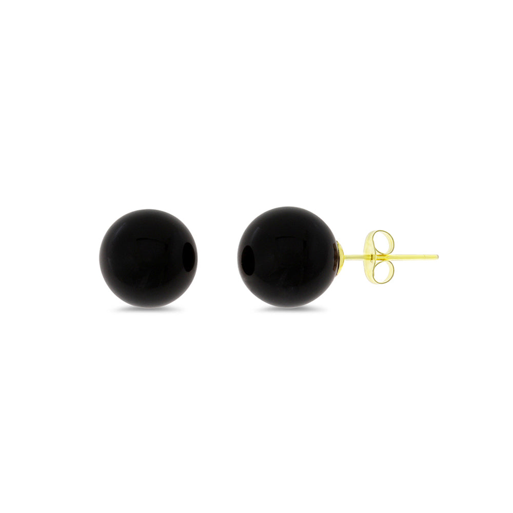 8 mm. Genuine Natural Black Onyx Round Shaped Earrings 14kt Yellow Gold