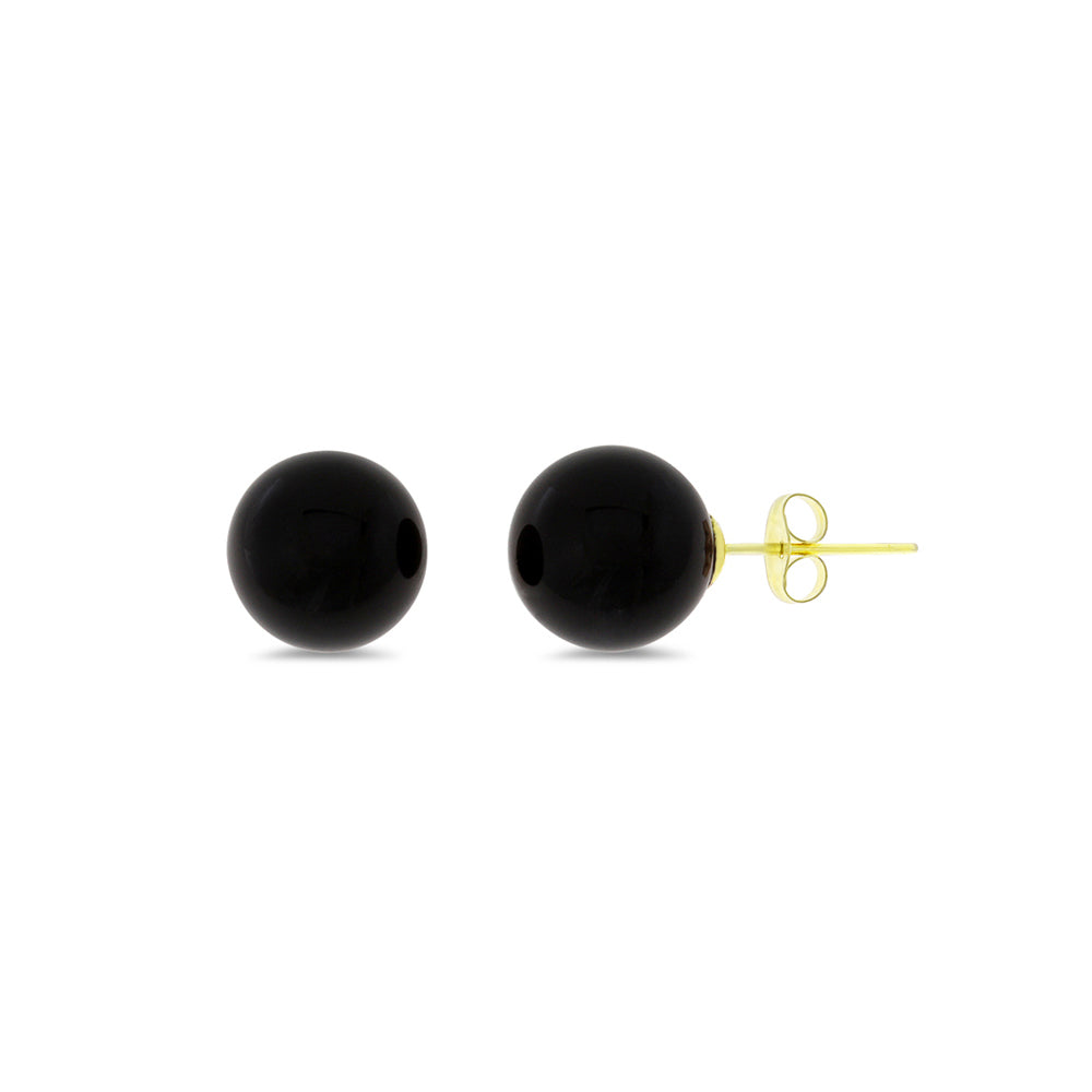 6 mm. Genuine Natural Black Onyx Round Shaped Earrings 14kt Yellow Gold
