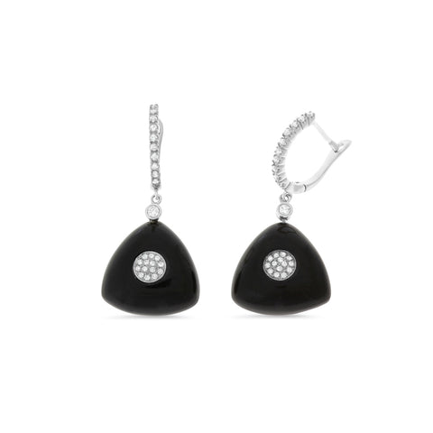 0.40ctw Genuine Natural Black Onyx and Diamond Dangling Earrings 18kt White Gold