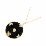 Genuine Natural Black Onyx Circular Shaped Butterfly Pendant 14kt Yellow Gold