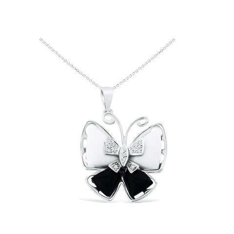 0.06ctw Genuine Natural Black Onyx + White Mother of Pearl and Diamond Butterfly Pendant 14kt White Gold