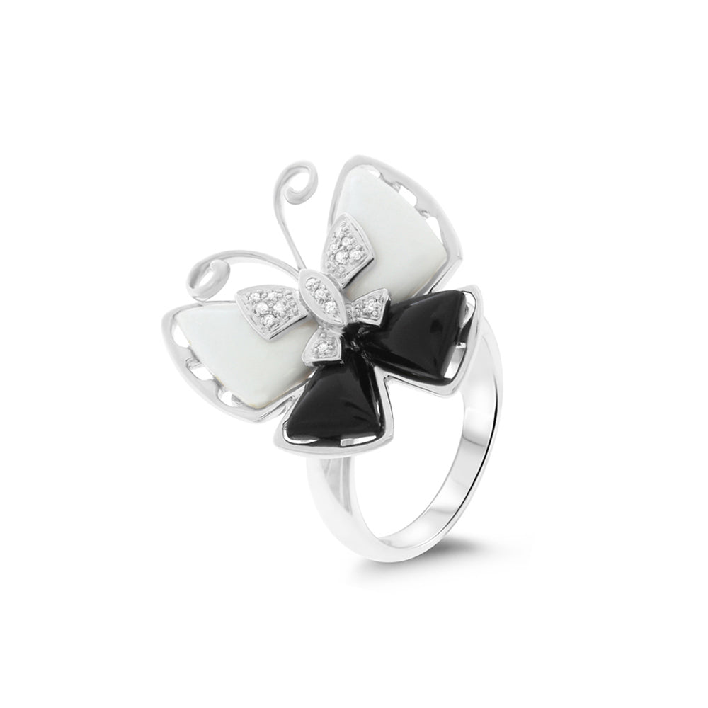 0.06ctw Genuine Natural Mother of Pearl / Black Onyx and Diamond Butterfly Ring Size 7.25 14kt White Gold