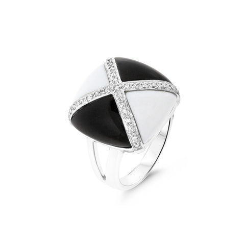 0.13ctw Genuine Natural Mother of Pearl / Black Onyx and Diamond Ring Size 7.25 14kt White Gold