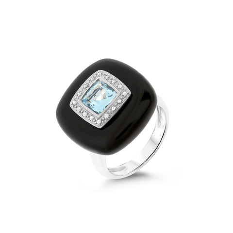 1.38ctw Genuine Natural Black Onyx / Blue Topaz and Diamond Ring Size 6.75 14kt White Gold