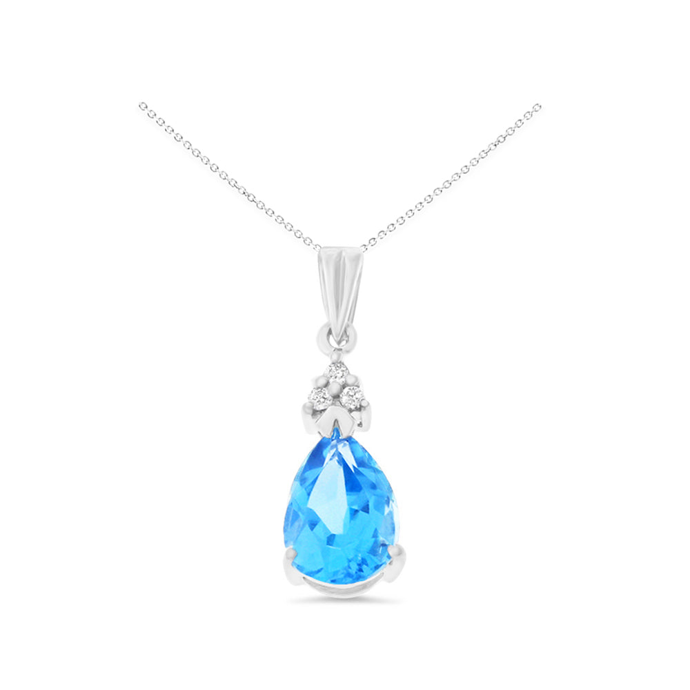 1.60ctw 6 x 8 mm. Pear Genuine Natural Blue Topaz and Diamond Pendant 14kt White Gold