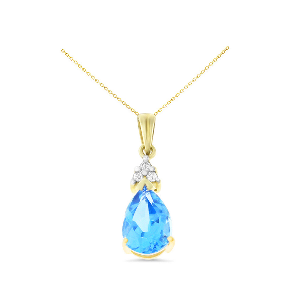 1.60ctw 6 x 8 mm. Pear Genuine Natural Blue Topaz and Diamond Pendant 14kt Yellow Gold
