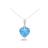 0.85ctw 6 mm. Heart Shaped Genuine Natural Blue Topaz Pendant 14kt White Gold