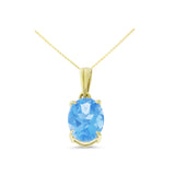 1.48ctw 6 x 8 mm. Oval Shaped Genuine Natural Blue Topaz Pendant 14kt Yellow Gold