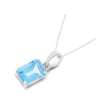 1.20ctw 5 x 7 mm. Emerald Cut Genuine Natural Blue Topaz Pendant 14kt White Gold