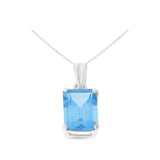 2.13ctw 6 x 8 mm. Emerald Cut Genuine Natural Blue Topaz Pendant 14kt White Gold