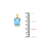 6.27ctw 6 x 8 mm. Emerald Cut Genuine Natural Blue Topaz Set 14kt Yellow Gold