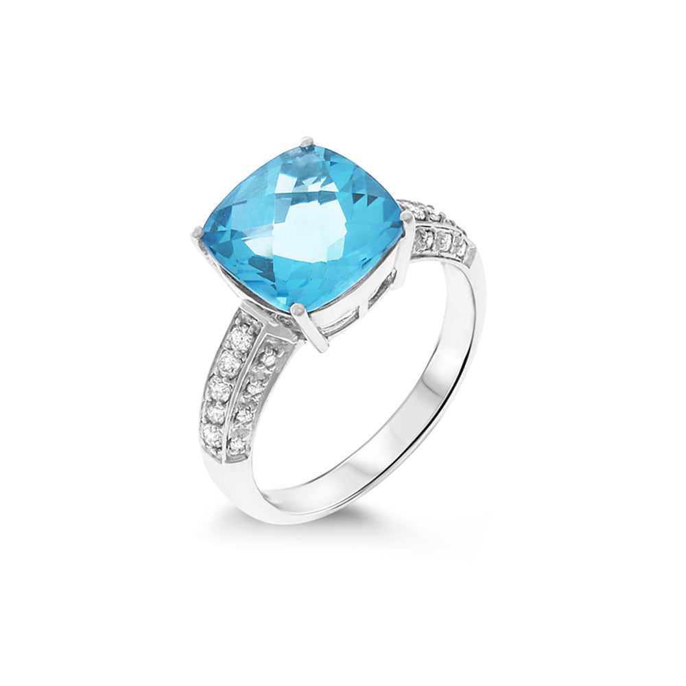 5.27ctw Genuine Natural Blue Topaz and Diamond Ring Size 7 14kt White Gold