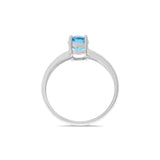 1.03ctw 5 x 7 mm. Oval Genuine Natural Blue Topaz Ring Size 6.25 .925 Sterling Silver