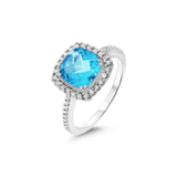 2.53ctw Genuine Natural Blue Topaz and Diamond Ring Size 6.25 14kt White Gold