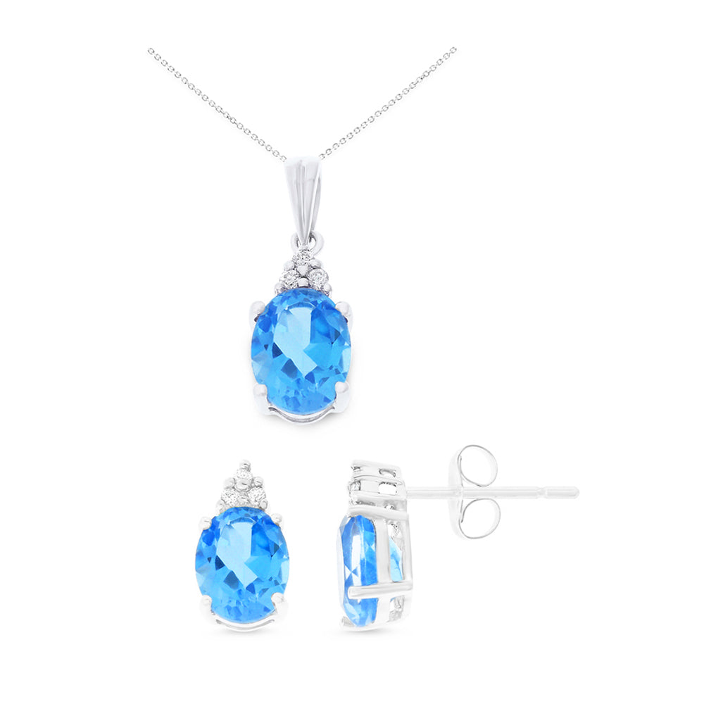 4.60ctw 6 x 8 mm. Oval Shaped Genuine Natural Blue Topaz and Diamond Set 14kt White Gold
