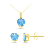 2.77ctw 6 mm. Heart Shaped Genuine Natural Blue Topaz Set 14kt Yellow Gold